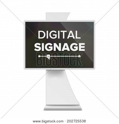Digital Signage Vector. Front And Half Side View. For Showcasing Information, Advertising Projects. Isolated Illustration