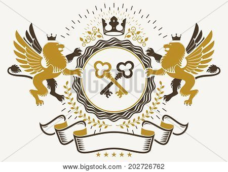 Heraldic sign created with vector elements heraldry insignia composed with mythology gryphon crossed keys and monarch crown.