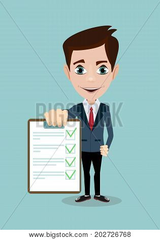 Businessman answers questions of interview. Concept of survey, questionnaire. Vector, illustration