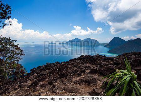 View On Top Of Bohey Dulang Island In Tun Sakaran Marine Park In The Vicinity Of Sipidan Mabul Islan