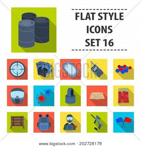 Marker for paintball, equipment, balls and other accessories for the game. Paintball single icon in flat style vector symbol stock illustration .