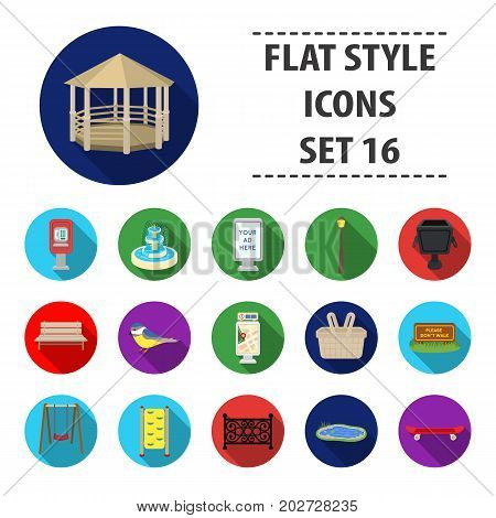 Park set icons in flat style. Big collection of park vector symbol stock
