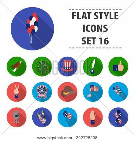 Patriot Day set icons in flat style. Big collection Patriot Day vector symbol stock