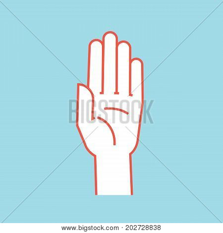 Gesture. Stop sign. Stylized hand with all fingers up and connected. Vector illustration on blue background. Icon. Making attention sign by hand. Orange outline and white silhouette. Logo. Care.