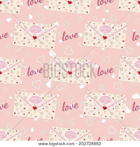 Pink wedding seamless pattern with letter decorated with lace and texture of hearts. Element for your wedding designs, valentines day projects, and other your romantic projects. Romantic fabric pattern