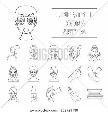 Skin care set icons in outline style. Big collection of skin care vector symbol stock