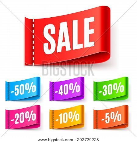 Multicolored sale tags with different discount values isolated on white background