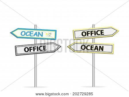 Two different design of road signs Office Ocean isolated on white background