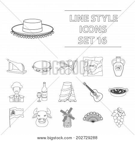 Spain country set icons in outline design. Big collection of Spain country vector symbol stock illustration