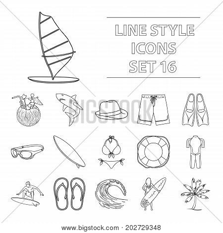 Surfing set icons in outline design. Big collection of surfing vector symbol stock illustration