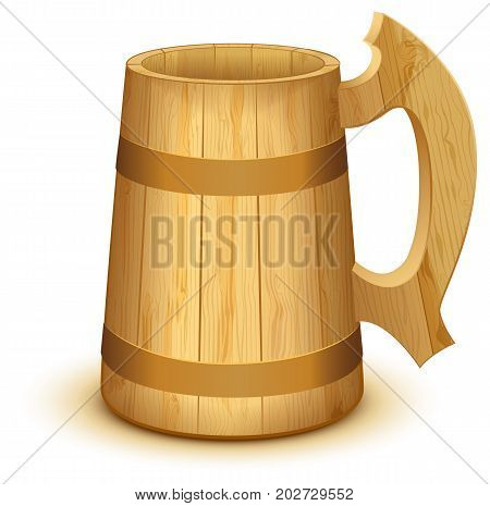 Empty wooden mug for beer. Isolated on white vector illustration