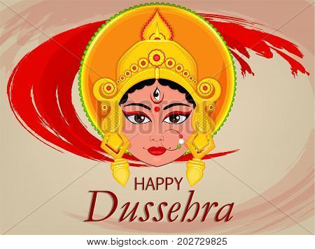 Happy Dussehra greeting card. Maa Durga Face for Hindu Festival. Vector illustration on abstract red background