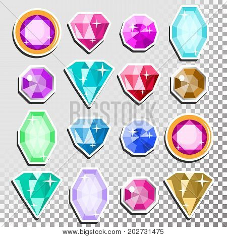 Precious Stones Set Vector. Cartoon Jewels, Precious Diamonds Gem. Isolated Illustration