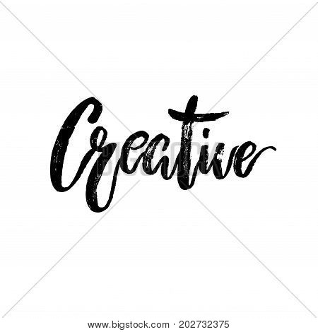 Creative word hand brushed ink lettering type. Typography calligraphy element for card and banner. Black and white Isolated Vector illustration stock vector.