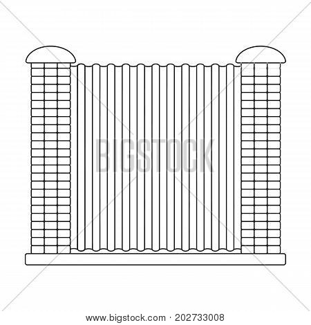 A fence of metal and bricks. A different fence single icon in outline style vector symbol stock illustration .