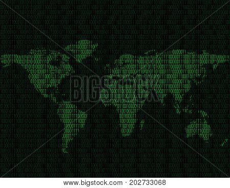Illustration of world map of binary digits on a dark background of binary digits