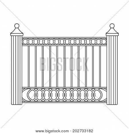 A fence of metal . A different fence single icon in outline style vector symbol stock illustration .