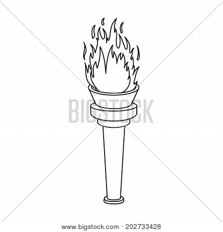 Street lamp in the form of a torch with an open fire.Lamppost single icon in outline style vector symbol stock illustration .
