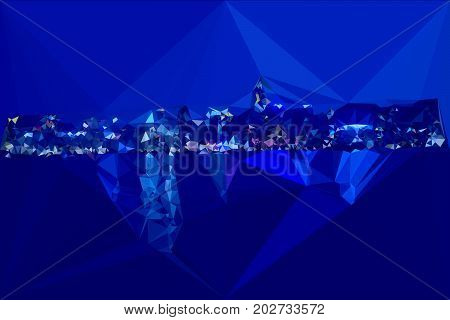 Hongkong night harbour color triangles skyline abstract triangles modern view background