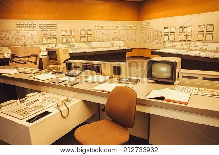 ZWENTENDORF, AUSTRIA - JUNE 1, 2013: Interior with computer security system and control panel of Zwentendorf Nuclear Power Plant on June 1, 2013. Atomic power plant was built in 1976 with hot water reactor