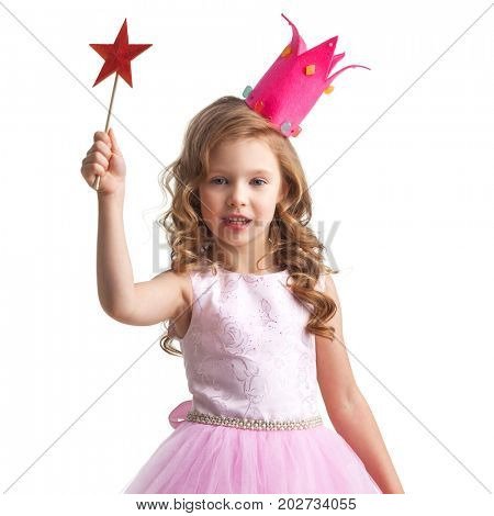 Little fairy girl in pink dress and crown with magic wand putting spell, isolated on white background