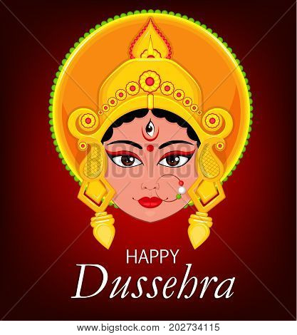 Happy Dussehra greeting card. Maa Durga Face for Hindu Festival. Vector illustration on beautiful dark red background