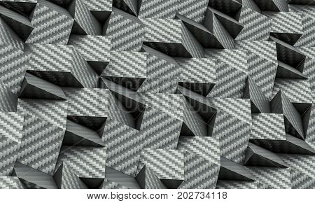 3d poly geometric carbon fiber background texture render
