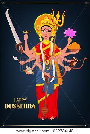 Happy Dussehra vector illustration. Maa Durga on dark blue background for Hindu Festival.