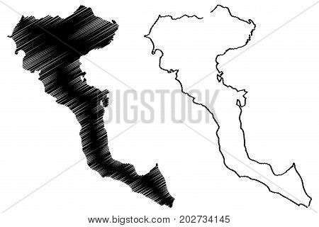 Greek Island of Corfu map vector illustration , scribble sketch Corfu island