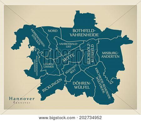 Modern City Map - Hannover City Of Germany With Boroughs And Titles De