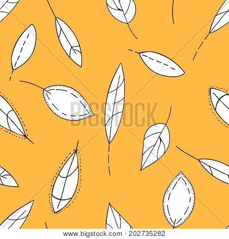 Doodle Stylized Leaves Seamless Pattern. Hand Drawn Autumn White Leaves On Yellow Orange Background,