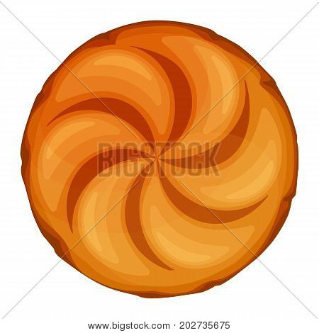 Bread roll loaf served as a meal accompaniment vector illustration isolated on white background. Round bun can be used to make sandwiches