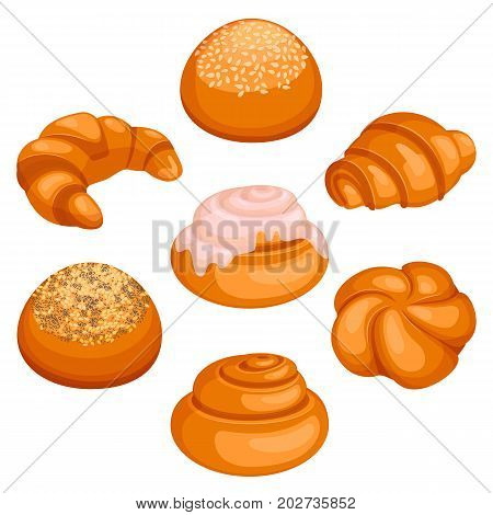 Set of fresh-baked bread rolls placed in circle with spiral-shaped bun covered in icing in middle isolated vector illustration on white background