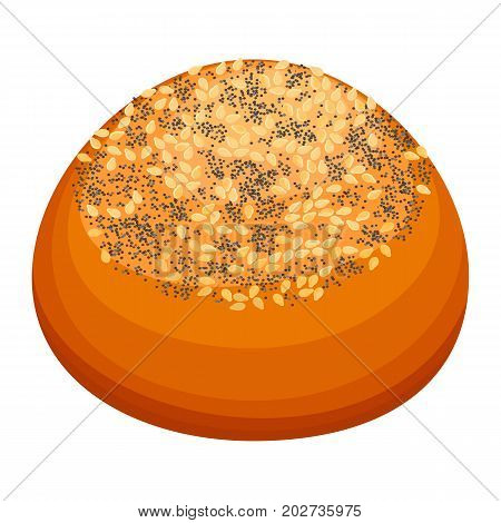 Closeup of fresh round tasty bun covered with sesame and poppy seed on top isolated vector illustration on white background in realistic style
