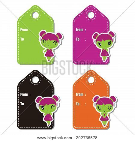 Cute zombie girls on colorful frame vector cartoon illustration for halloween gift tag design, label tag and stciker set design
