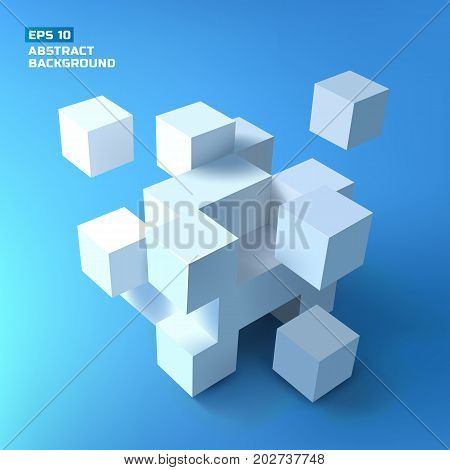 Composition with a bunch of tridimensional white cubes with shadows forming complex structure on gradient background vector illustration