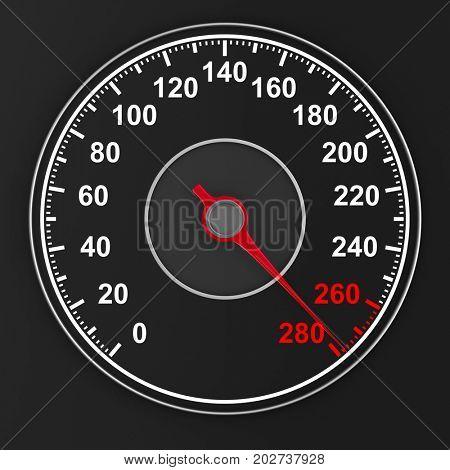 speedometer on black background. 3D illustration
