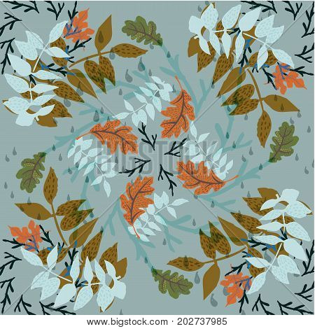 Hand drawn seamless pattern with autumn foliage and branches raindrops on grey background vector illustration