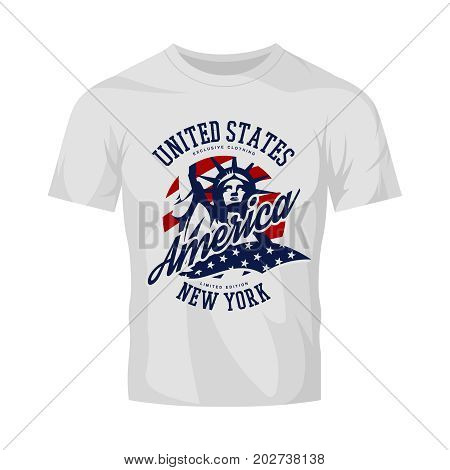 Statue vector logo concept isolated on white t-shirt. USA street wear superior sport vintage badge design.  Premium quality United States of America emblem t-shirt tee print illustration.