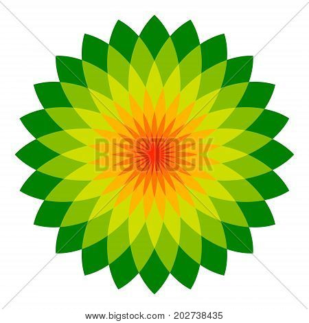 abstract flower, a lot of leafs, a logo vector ecologically clean products, eco shop, a symbol of virgin nature and beauty, the emblem of nature protection