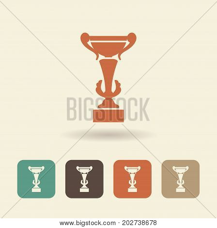Vector icon of a Cup of the winner with a shadow.