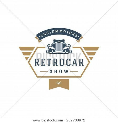 Classic car logo template vector design element vintage style for label or badge retro illustration. Luxury car silhouette.