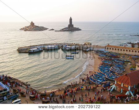Pilgrims and tourists meet the dawn in Kanyakumari the southernmost point of India and the continent