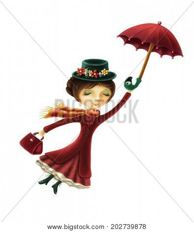 Mary Poppins isolated on a white background