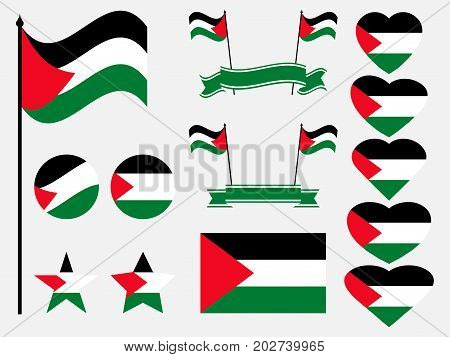 Palestine Flag Set. Collection Of Symbols, Flag In Heart. Vector Illustration