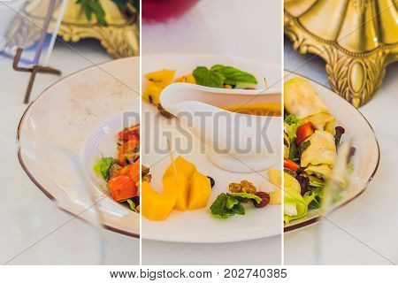 Collage Of Three Kinds Of Dishes Catering Service. Restaurant Table With Food. Huge Amount Of Food O
