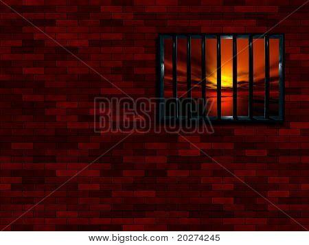 Latticed prison window, sunset beyond