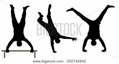 set of Man upside down silhouette , vector