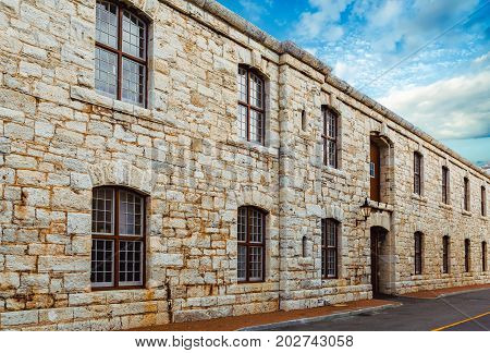 Windows in Old Stone Wall on Bermuda Dockyard Building