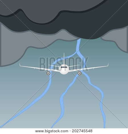 The plane flies in a thunderstorm an airplane flying in thunderclouds. Clouds and thunderstorm. Flat design vector illustration vector.
